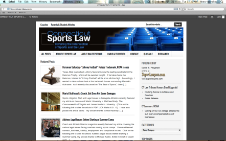 Screenshot of Connecticut Sports Law Blog
